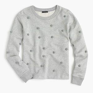J Crew Gray Pom Pom Sweatshirt